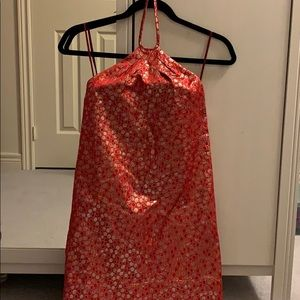 NWOT y2k Kate Moss X Topshop gold halter dress XS